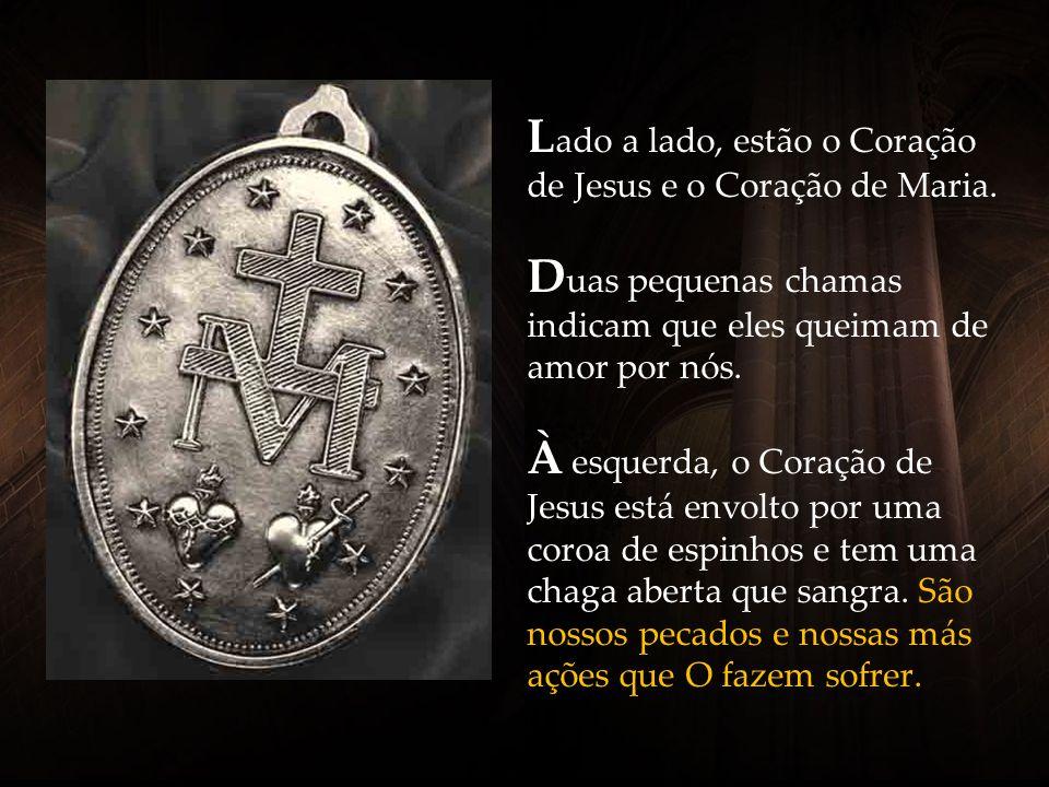 Lado a lado, estão o Coração de Jesus e o Coração de Maria