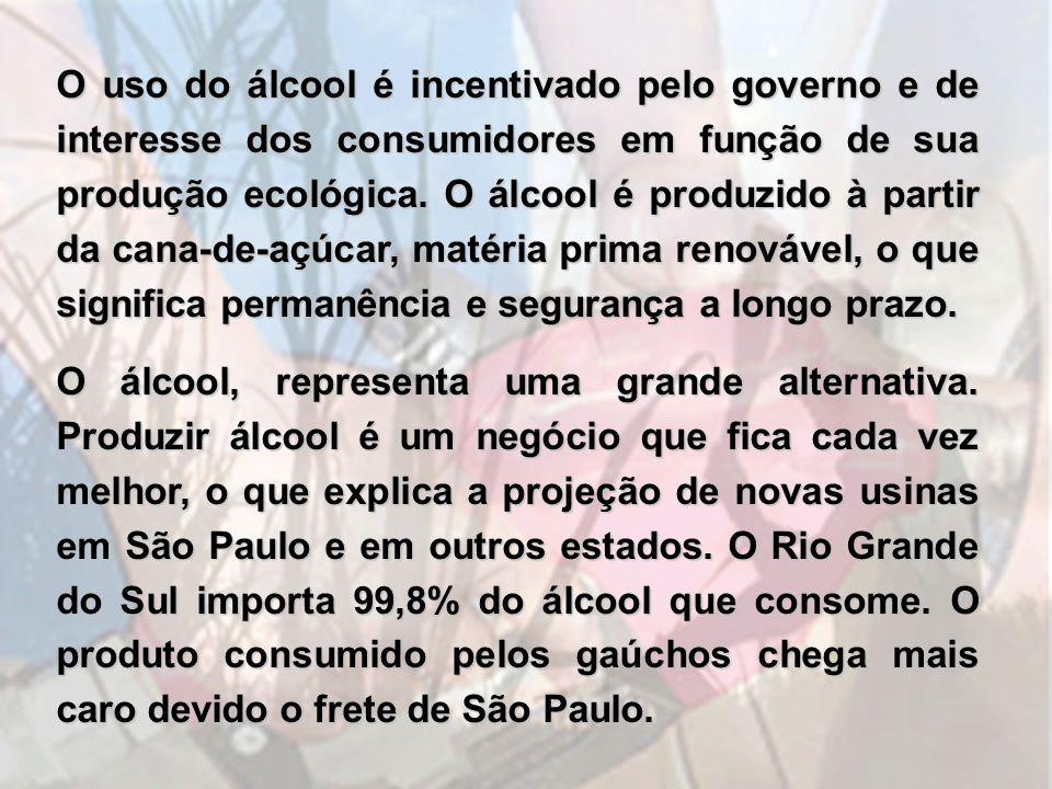 O uso do álcool é incentivado pelo governo e de interesse dos consumidores em função de sua produção ecológica. O álcool é produzido à partir da cana-de-açúcar, matéria prima renovável, o que significa permanência e segurança a longo prazo.