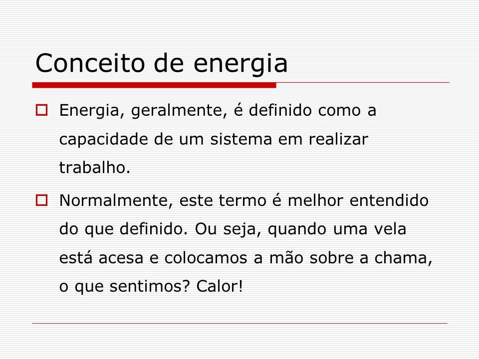 Conceito de energia Energia, geralmente, é definido como a capacidade de um sistema em realizar trabalho.