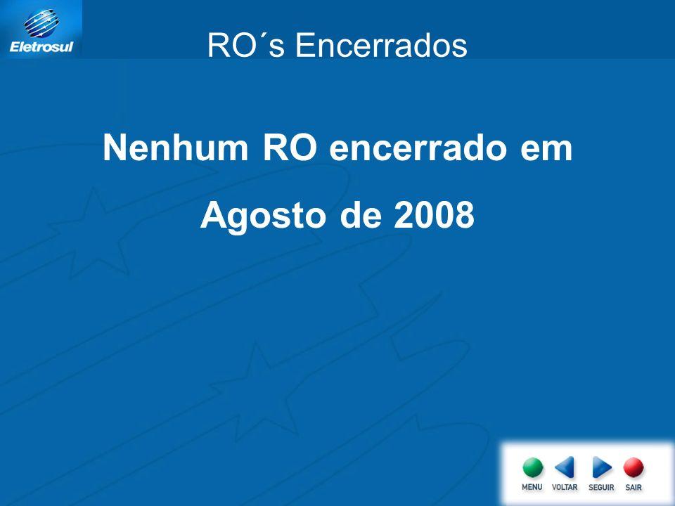 Nenhum RO encerrado em Agosto de 2008