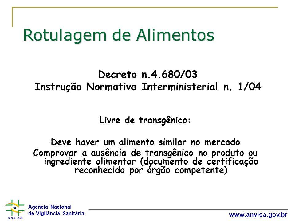Decreto n.4.680/03 Instrução Normativa Interministerial n. 1/04