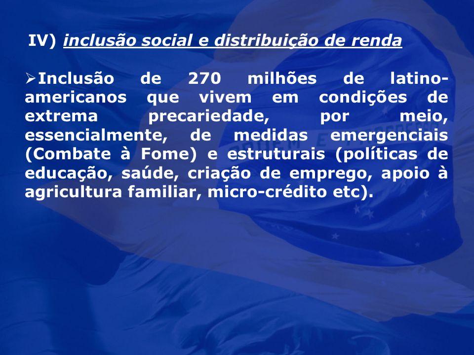 IV) inclusão social e distribuição de renda