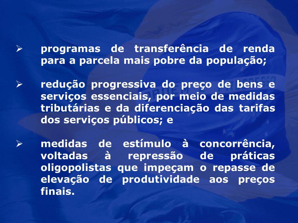 programas de transferência de renda para a parcela mais pobre da população;