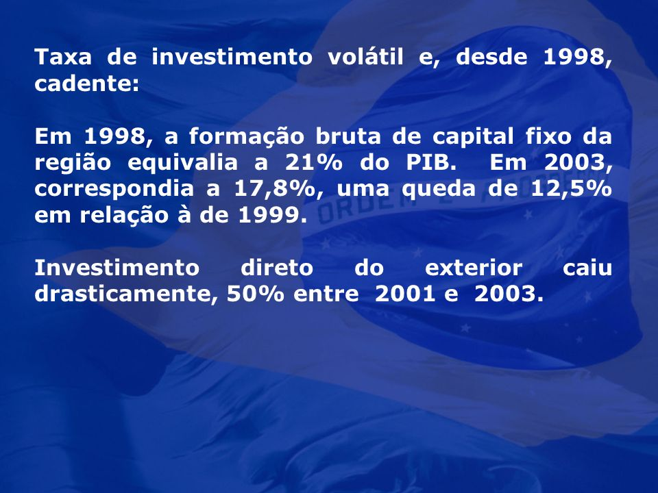 Taxa de investimento volátil e, desde 1998, cadente: