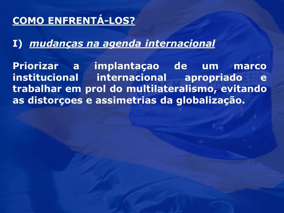 COMO ENFRENTÁ-LOS I) mudanças na agenda internacional.