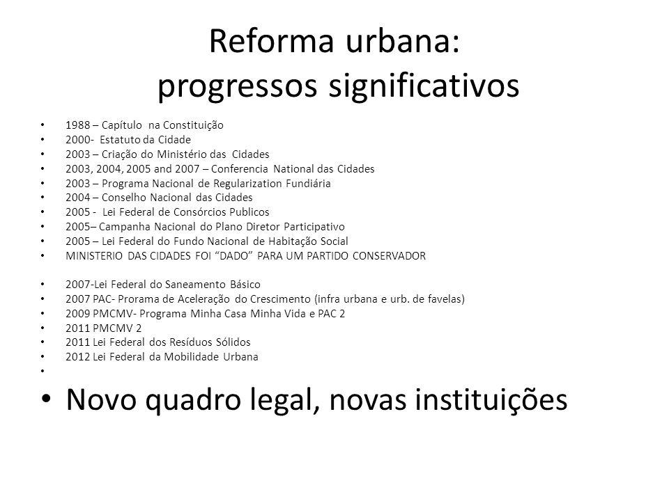 Reforma urbana: progressos significativos