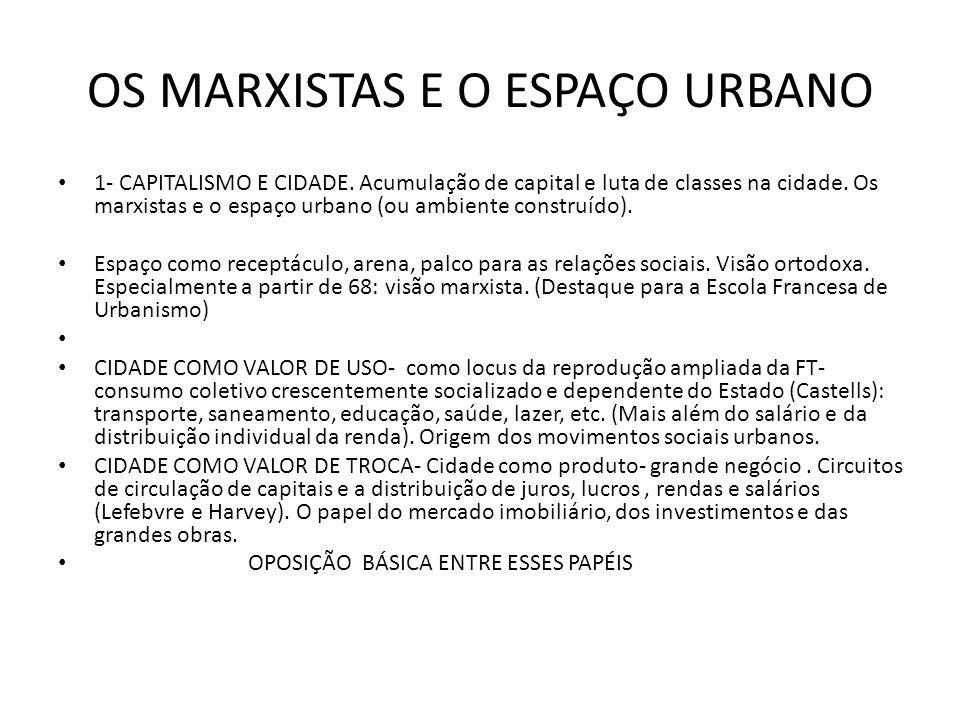 OS MARXISTAS E O ESPAÇO URBANO