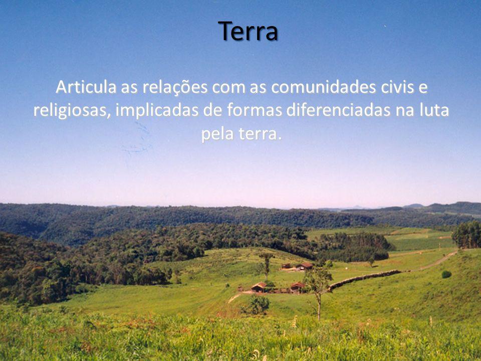 Terra Articula as relações com as comunidades civis e religiosas, implicadas de formas diferenciadas na luta pela terra.