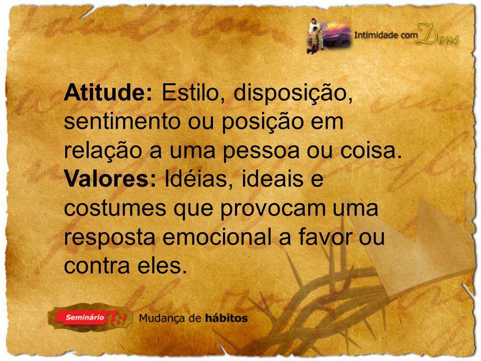 Atitude: Estilo, disposição, sentimento ou posição em relação a uma pessoa ou coisa.