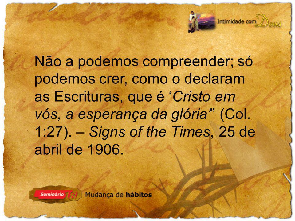 Não a podemos compreender; só podemos crer, como o declaram as Escrituras, que é 'Cristo em vós, a esperança da glória' (Col.