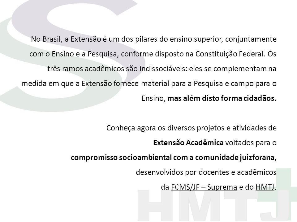 No Brasil, a Extensão é um dos pilares do ensino superior, conjuntamente com o Ensino e a Pesquisa, conforme disposto na Constituição Federal. Os três ramos acadêmicos são indissociáveis: eles se complementam na medida em que a Extensão fornece material para a Pesquisa e campo para o Ensino, mas além disto forma cidadãos.