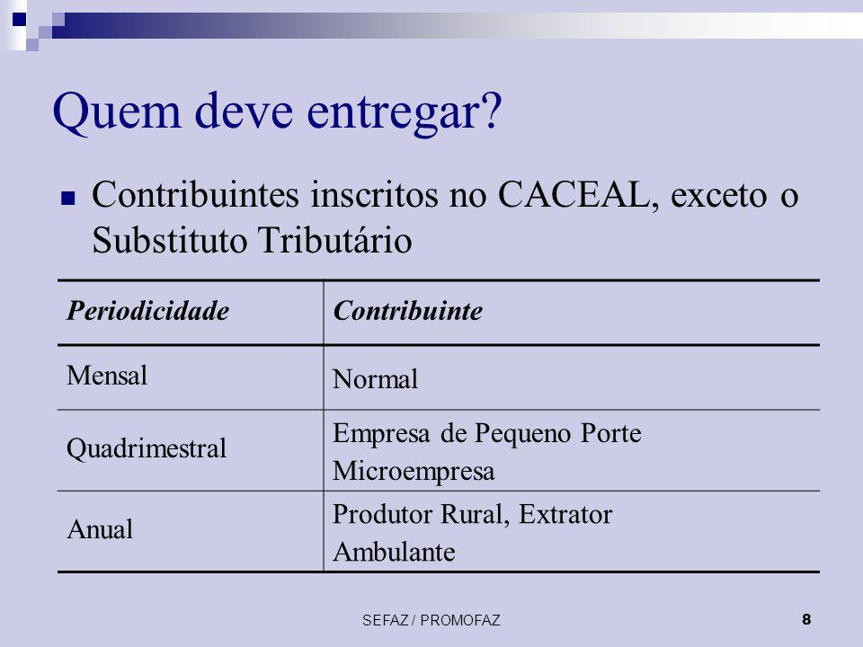 14/11/2002 Quem deve entregar Contribuintes inscritos no CACEAL, exceto o Substituto Tributário. Periodicidade.