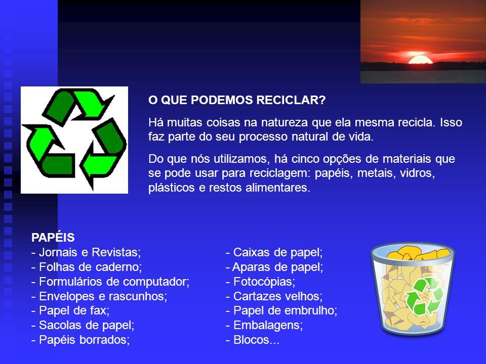 O QUE PODEMOS RECICLAR Há muitas coisas na natureza que ela mesma recicla. Isso faz parte do seu processo natural de vida.