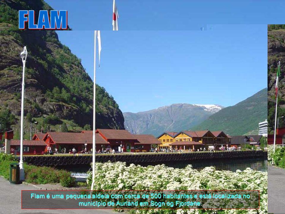 FLAM Flam é uma pequena aldeia com cerca de 500 habitantes e está localizada no município de Aurland em Sogn og Fjordane.