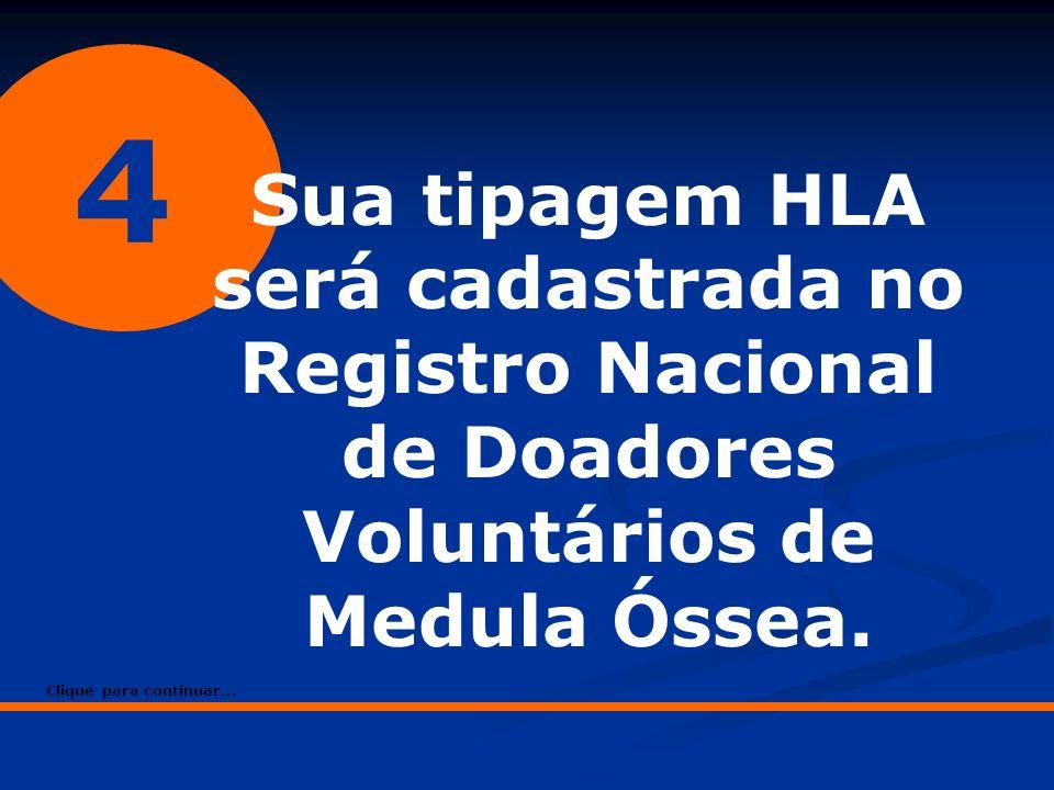 4 Sua tipagem HLA será cadastrada no Registro Nacional de Doadores Voluntários de Medula Óssea.