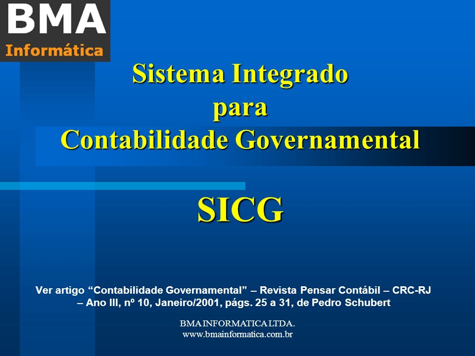 Sistema Integrado para Contabilidade Governamental SICG