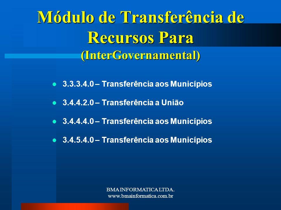 Módulo de Transferência de Recursos Para (InterGovernamental)