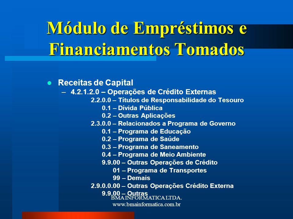 Módulo de Empréstimos e Financiamentos Tomados