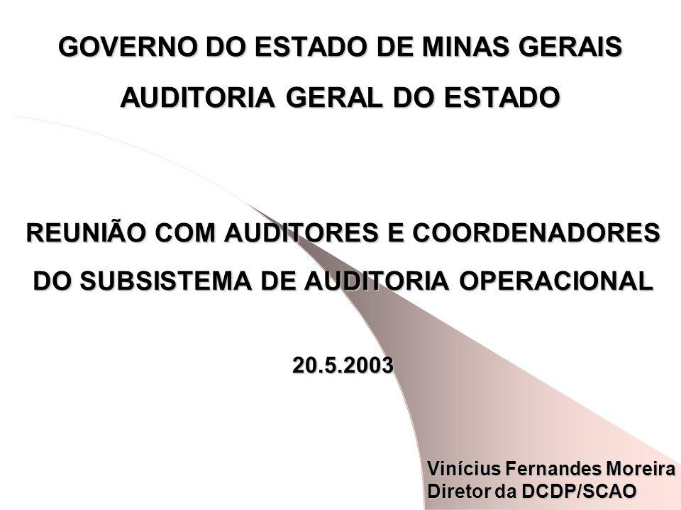 GOVERNO DO ESTADO DE MINAS GERAIS AUDITORIA GERAL DO ESTADO