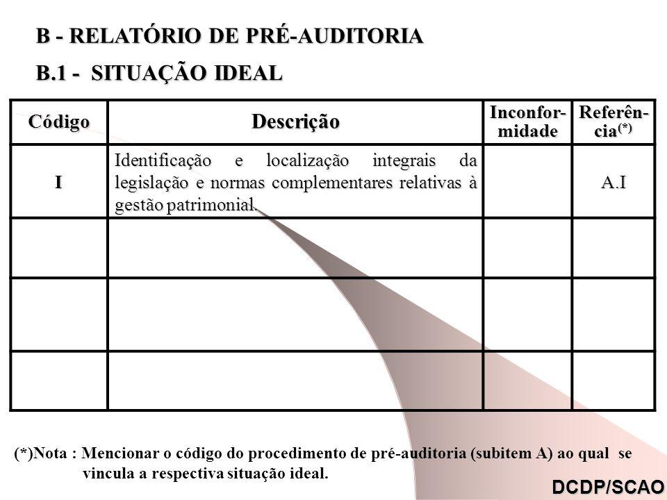 B - RELATÓRIO DE PRÉ-AUDITORIA