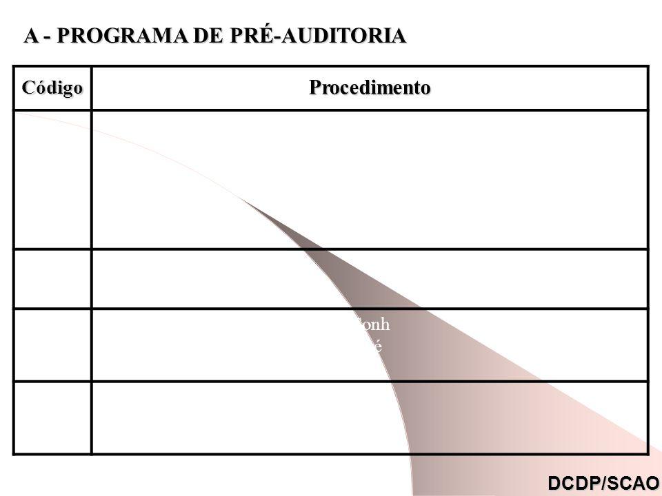 A - PROGRAMA DE PRÉ-AUDITORIA