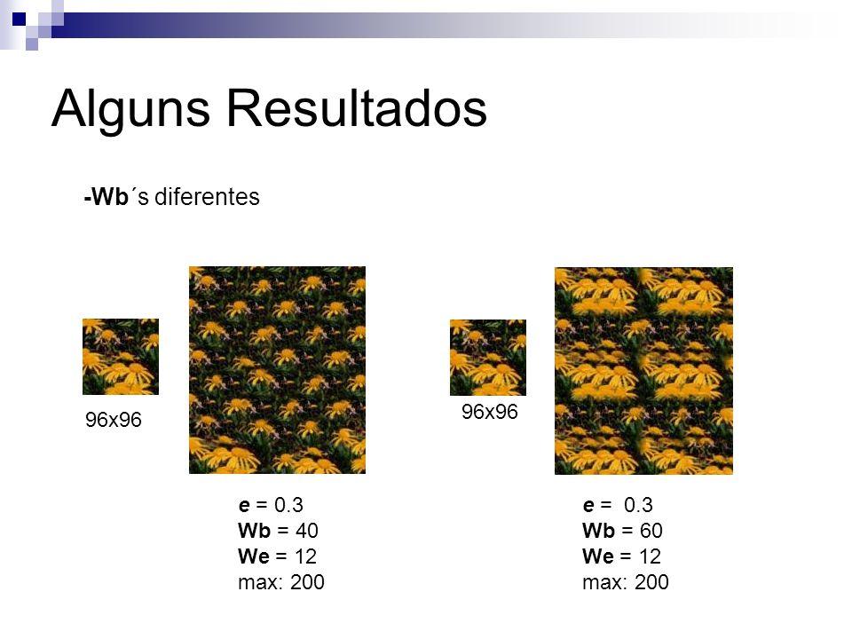 Alguns Resultados -Wb´s diferentes 96x96 96x96 e = 0.3 Wb = 40 We = 12