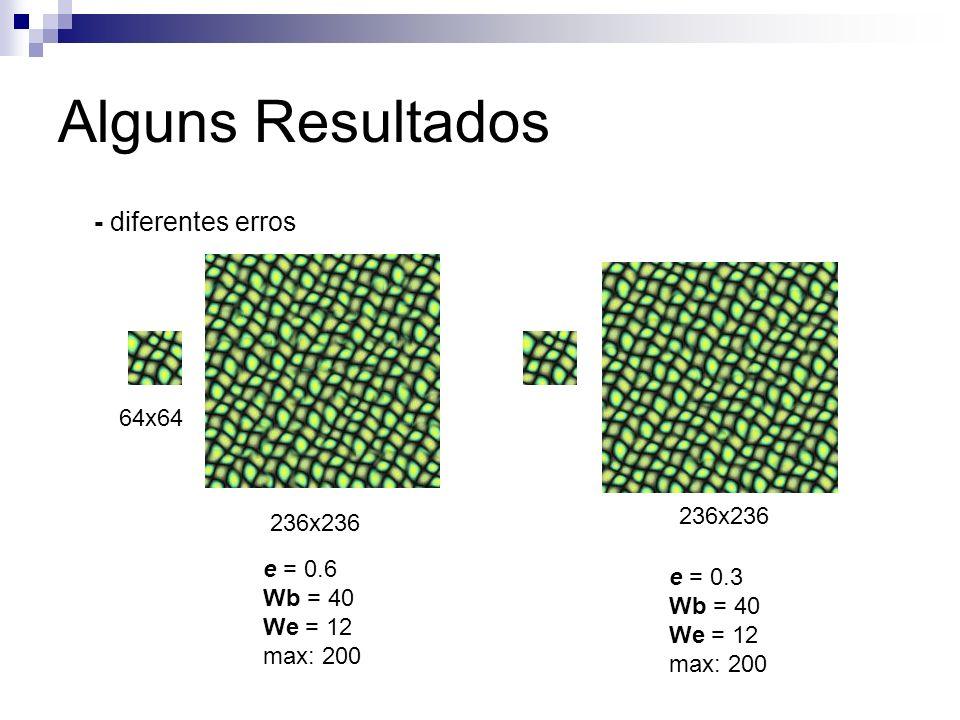Alguns Resultados - diferentes erros 64x64 236x236 236x236 e = 0.6