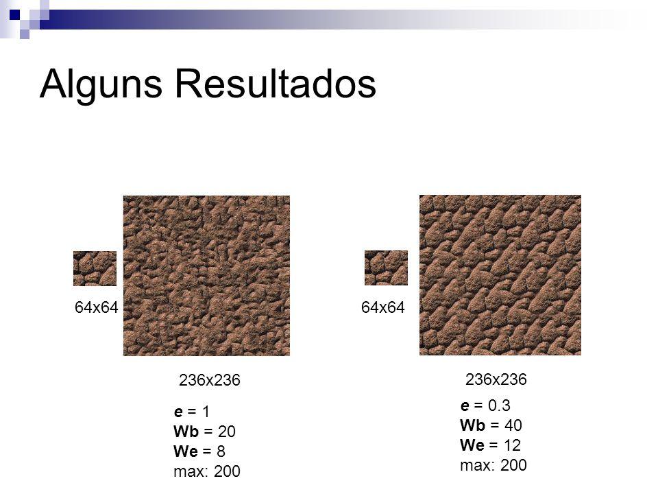Alguns Resultados 64x64 64x64 236x236 236x236 e = 0.3 e = 1 Wb = 40