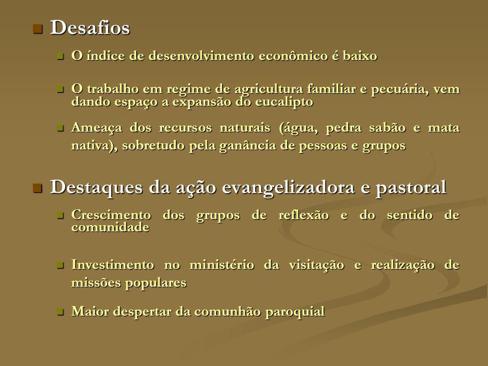 Desafios Destaques da ação evangelizadora e pastoral