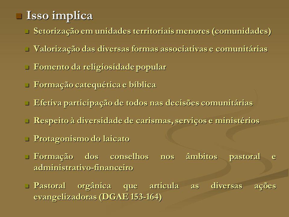 Isso implica Setorização em unidades territoriais menores (comunidades) Valorização das diversas formas associativas e comunitárias.