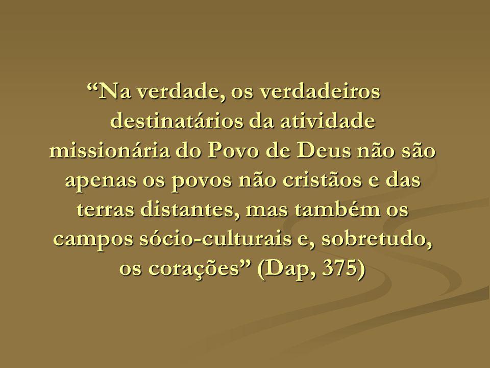 Na verdade, os verdadeiros destinatários da atividade missionária do Povo de Deus não são apenas os povos não cristãos e das terras distantes, mas também os campos sócio-culturais e, sobretudo, os corações (Dap, 375)