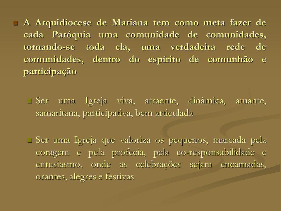 A Arquidiocese de Mariana tem como meta fazer de cada Paróquia uma comunidade de comunidades, tornando-se toda ela, uma verdadeira rede de comunidades, dentro do espírito de comunhão e participação