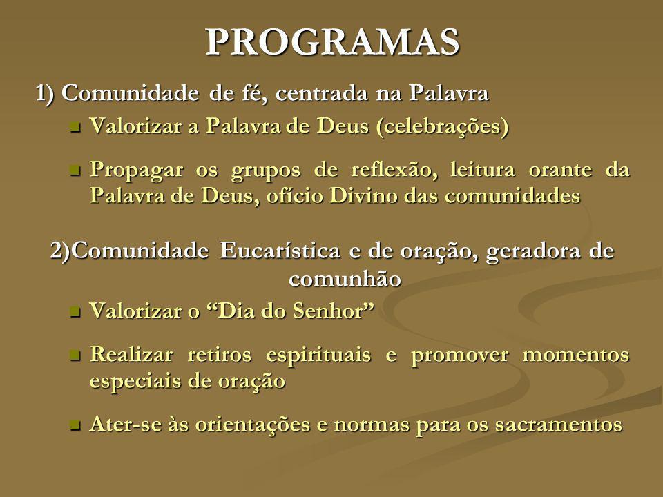 2)Comunidade Eucarística e de oração, geradora de comunhão