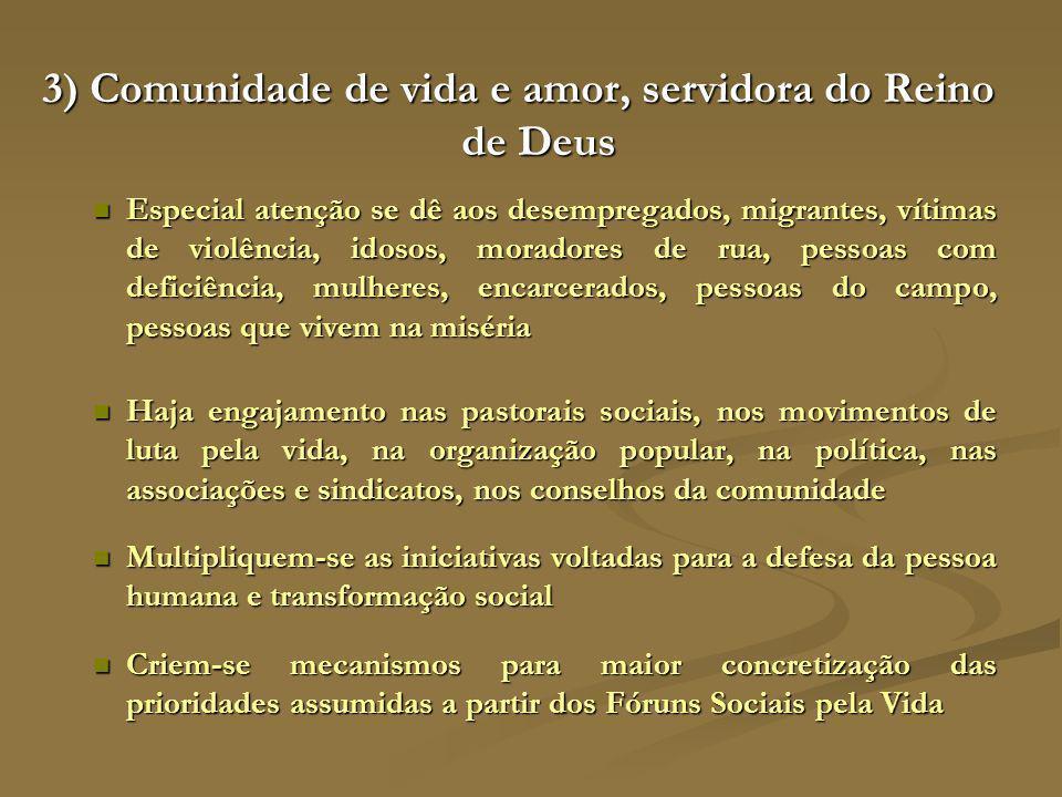 3) Comunidade de vida e amor, servidora do Reino de Deus