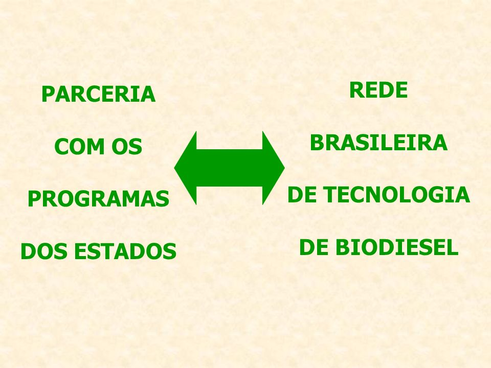 REDE BRASILEIRA DE TECNOLOGIA DE BIODIESEL PARCERIA COM OS PROGRAMAS DOS ESTADOS