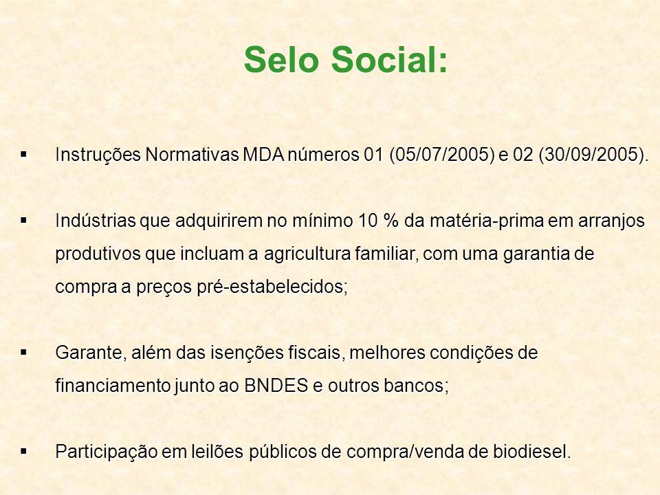 Selo Social: Instruções Normativas MDA números 01 (05/07/2005) e 02 (30/09/2005).