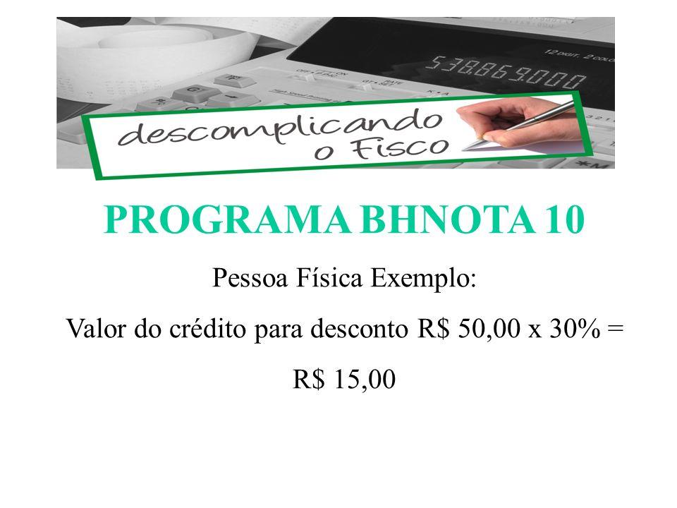 PROGRAMA BHNOTA 10 ESCOMPLICANDO O FISCO Pessoa Física Exemplo: