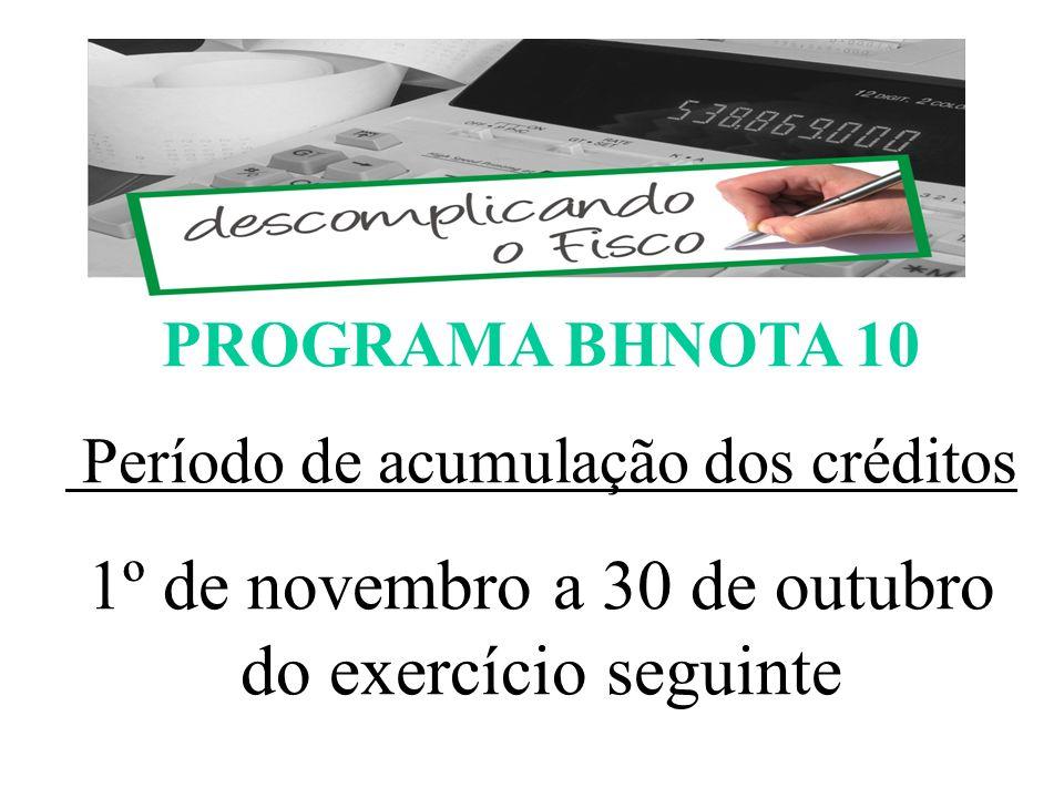 1º de novembro a 30 de outubro do exercício seguinte