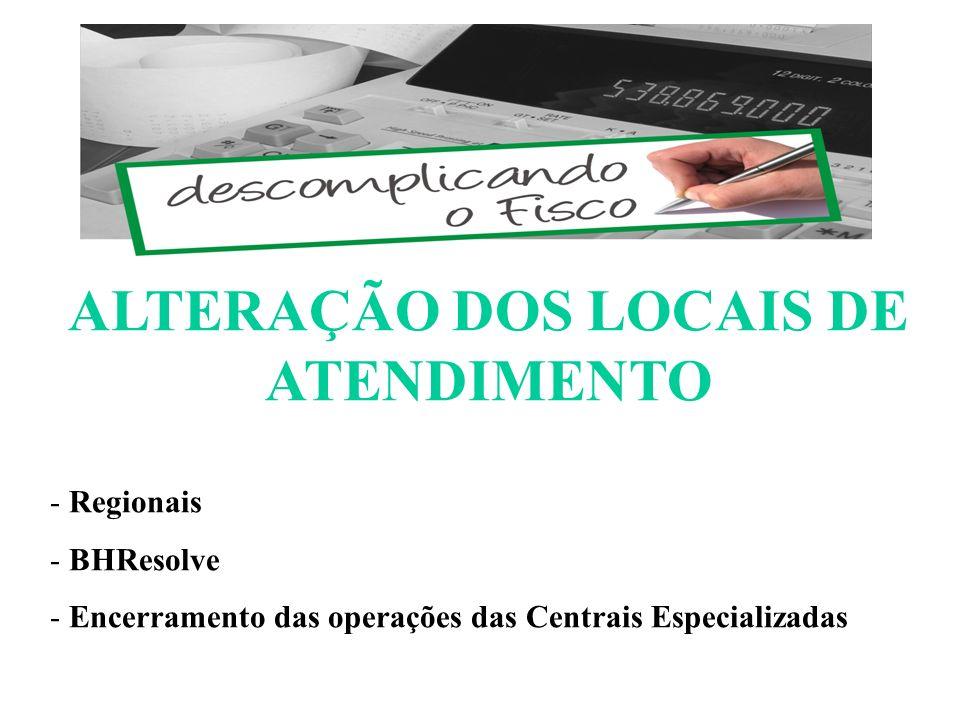 ALTERAÇÃO DOS LOCAIS DE ATENDIMENTO