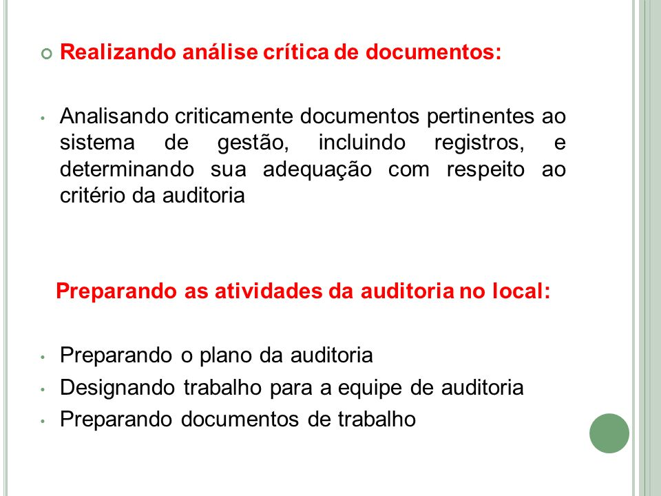 Preparando as atividades da auditoria no local: