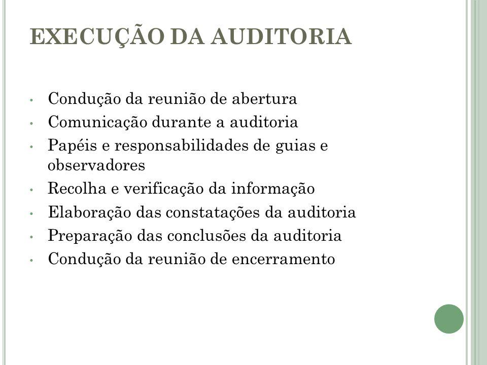 EXECUÇÃO DA AUDITORIA Condução da reunião de abertura