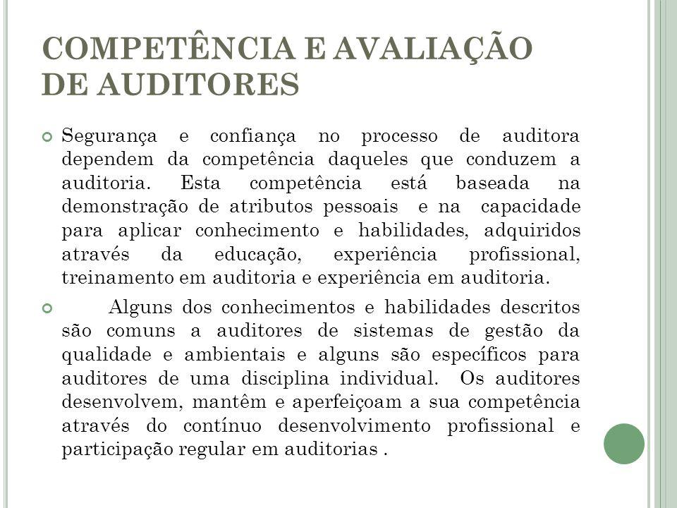 COMPETÊNCIA E AVALIAÇÃO DE AUDITORES