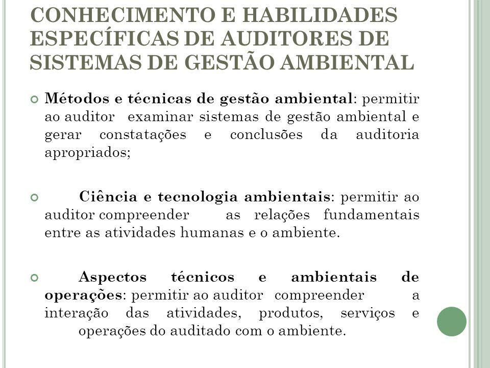 CONHECIMENTO E HABILIDADES ESPECÍFICAS DE AUDITORES DE SISTEMAS DE GESTÃO AMBIENTAL