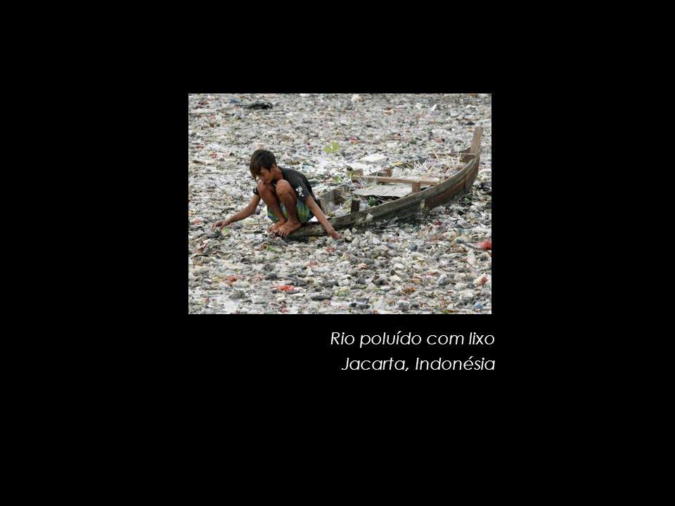 Rio poluído com lixo Jacarta, Indonésia