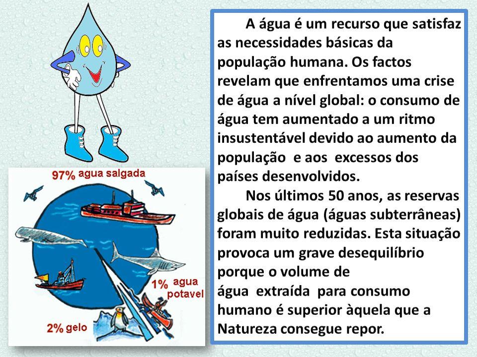 A água é um recurso que satisfaz as necessidades básicas da população humana. Os factos revelam que enfrentamos uma crise de água a nível global: o consumo de água tem aumentado a um ritmo insustentável devido ao aumento da população e aos excessos dos países desenvolvidos.