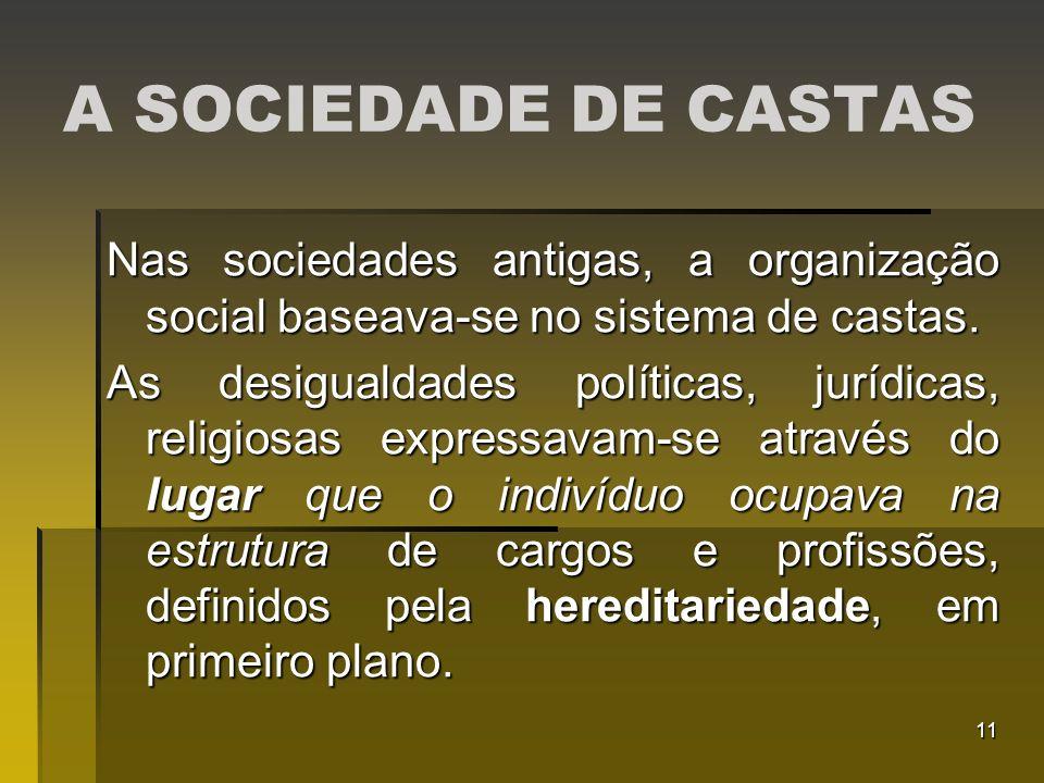 A SOCIEDADE DE CASTAS Nas sociedades antigas, a organização social baseava-se no sistema de castas.