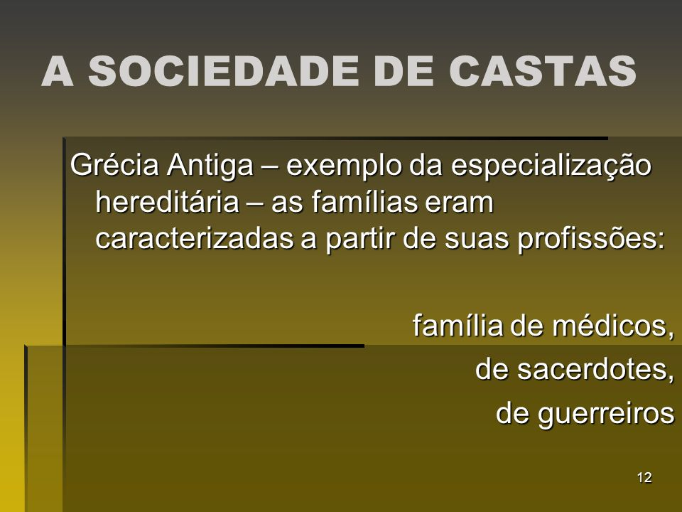 A SOCIEDADE DE CASTAS Grécia Antiga – exemplo da especialização hereditária – as famílias eram caracterizadas a partir de suas profissões: