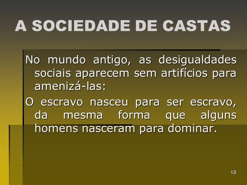 A SOCIEDADE DE CASTAS No mundo antigo, as desigualdades sociais aparecem sem artifícios para amenizá-las: