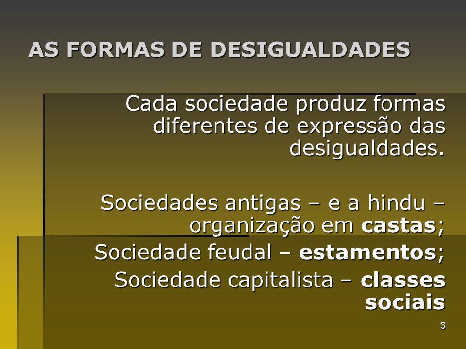 AS FORMAS DE DESIGUALDADES