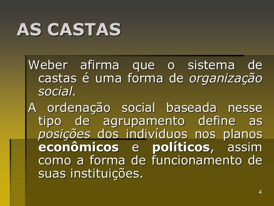 AS CASTAS Weber afirma que o sistema de castas é uma forma de organização social.